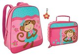 Stephen Joseph Girl Monkey Backpack and Lunch Box with Zipper Pull Set for Girls