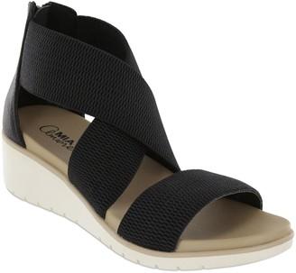 Mia Amore Criss-Cross Elastic Wedge Sandals - Casandraa