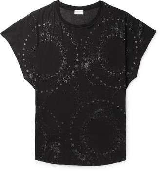 Saint Laurent Metallic Printed Cotton-Jersey T-Shirt