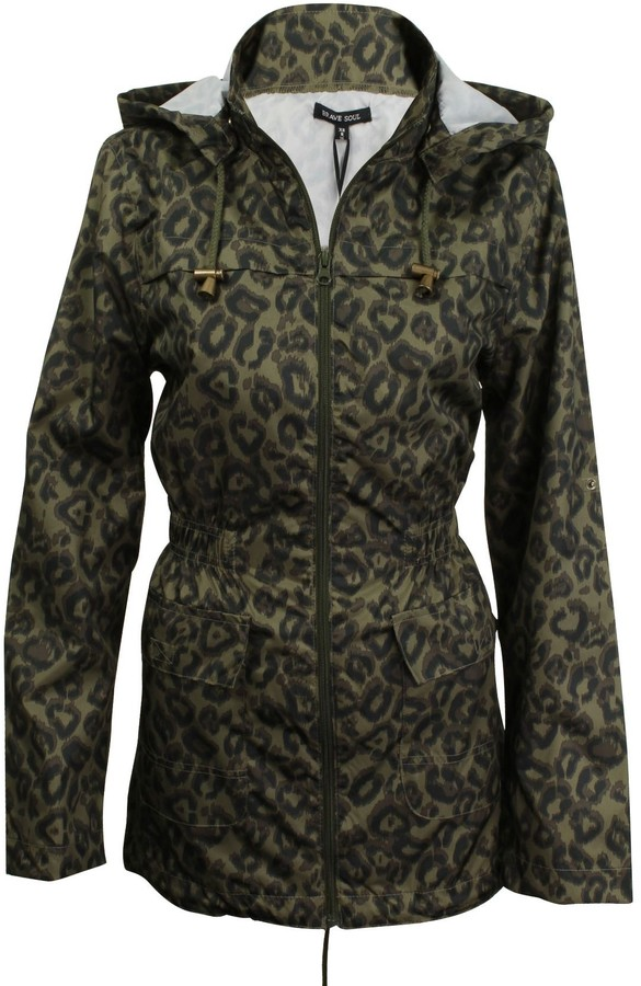 Thumbnail for your product : Brave Soul Womens/Ladies Shower-Proof Rain Mac Coat Trance' Leapard Print (Khaki Leopard) 10