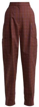 Tibi Checked Twill Tapered Trousers - Womens - Brown Multi