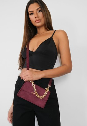 Missguided Burgundy Faux Suede Cross Body Chain Bag
