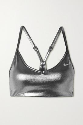 Nike Indy Metallic Dri-fit Sports Bra - Silver