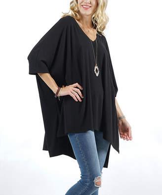 Lydiane Women's Ponchos BLACK - Black V-Neck Half-Sleeve Oversize Poncho - Women & Plus