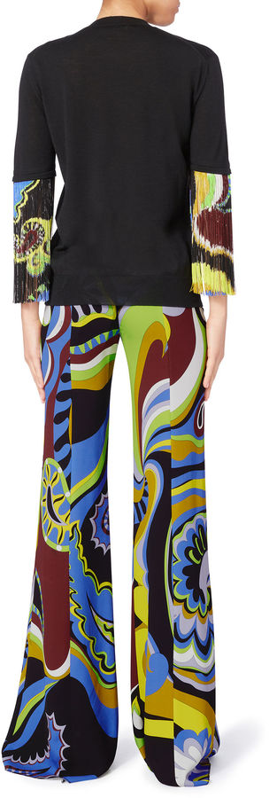 Pucci Paisley Print Fringe Sleeve Top