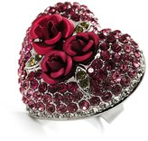 Avalaya Heart Crystal Rose Cocktail Ring (Silver Tone)