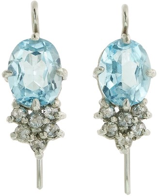 Cathy Waterman Oval Blue Topaz with Diamond Cluster Platinum Earrings