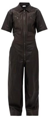 Raey Zip-front Leather Jumpsuit - Black