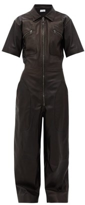 Raey Zip-front Leather Jumpsuit - Womens - Black