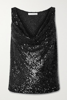 Naeem Khan Draped Sequined Knitted Top - Black
