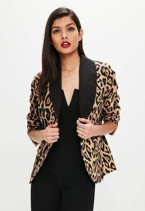 Missguided Brown Leopard Print Blazer