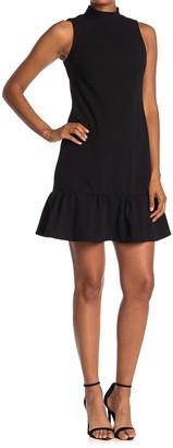 Calvin Klein Mock Neck Sleeveless Ruffled Mini Dress