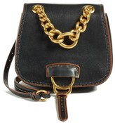 Miu Miu 'Dahlia' Goatskin Leather Saddle Bag - Black