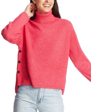 1 STATE Waffle-Knit Button-Detail Turtleneck Sweater