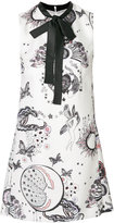 Giamba printed tie neck dress
