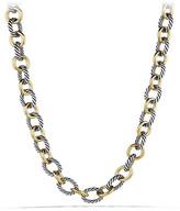 "David Yurman Large Sterling Silver & 18K Gold Oval Link Necklace, 18.25""L"