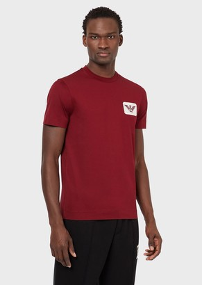Emporio Armani Mercerised Jersey T-Shirt With Eagle Patch