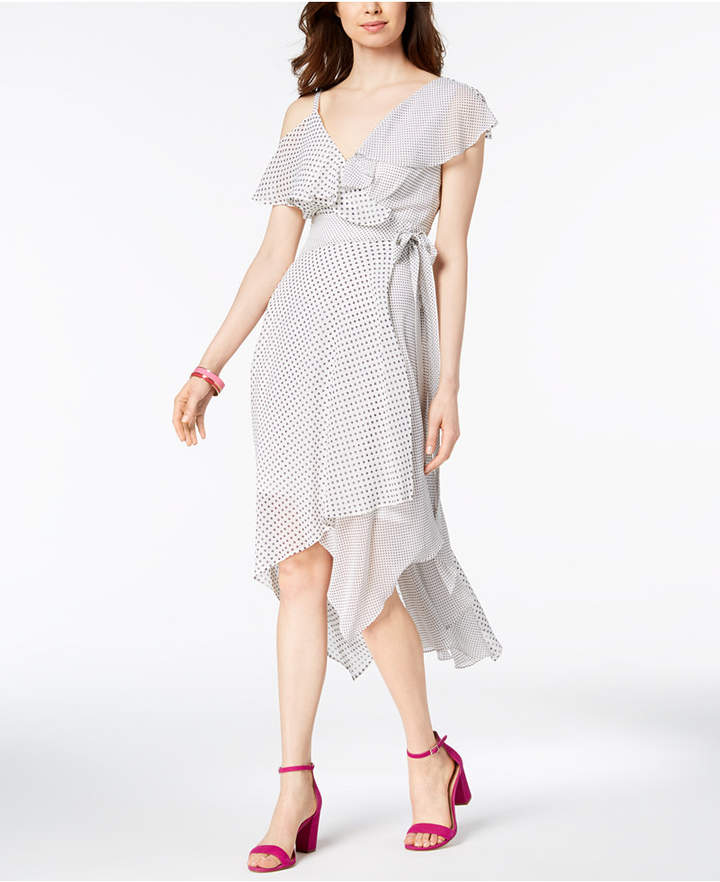 Sangria Mixed Polka-Dot Wrap Midi Dress