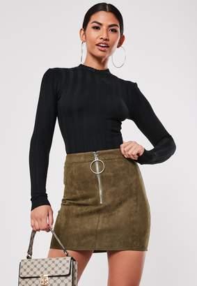 Missguided Khaki Faux Suede Micro Mini Zip Skirt