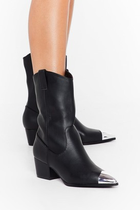 Nasty Gal Womens Toe-gether Forever Faux Leather Western Boots - Black - 3