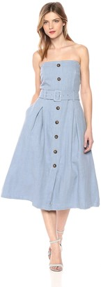 Moon River Women's Strapless Button Down Belted FIT & Flare MIDI Dress