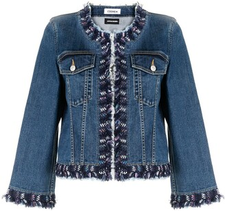 Coohem Tweed-Trimmed Collarless Denim Jacket