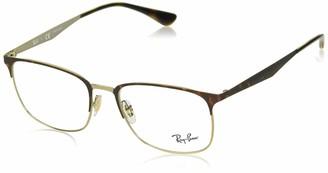 Ray-Ban 0rx6421 No Polarization Rectangular Prescription Eyewear Frame Pink Gold on Top Havana 54 mm