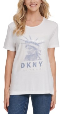 DKNY Sequin-Embellished Graphic Print T-Shirt