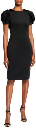 Badgley Mischka Rosette-Sleeve Sheath Dress