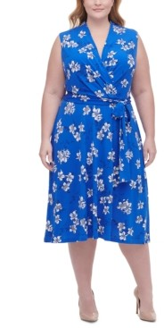 Tommy Hilfiger Plus Size Floral-Print Surplice Fit & Flare Dress
