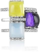 Mia & Beverly Gemstone and Diamond 18K White Gold Ring