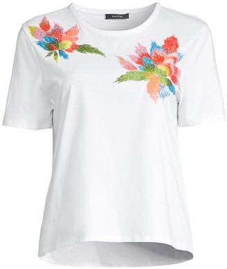 Natori Floral Embroidery Supima Cotton T-Shirt