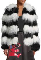 Alice + Olivia Verity Fur Coat, Black/White