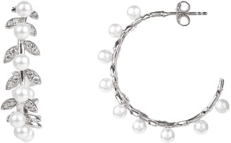 Laurèl Pearl Hoop Earrings Silver