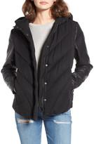 BLANKNYC Denim Bed Fellows Faux Leather Sleeves Puffer Jacket