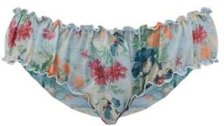 Loup Charmant Bloomer Floral-print Organic-cotton Briefs - Womens - Blue Print
