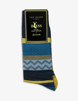 Ted Baker Pantherella geometric-pattern odd cotton-blend socks