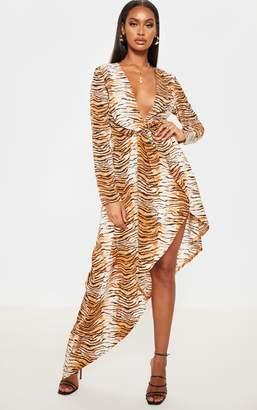PrettyLittleThing Leopard Asymmetric Hem Long Sleeve Plunge Satin Maxi Dress