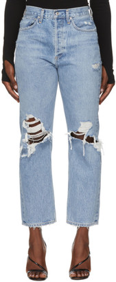 AGOLDE Blue Ripped 90s Mid Rise Loose Fit Jeans
