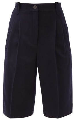Loewe High-rise Pleated Wool-fresco Shorts - Dark Blue