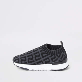 River Island Mini boys grey RI monogram runner trainers