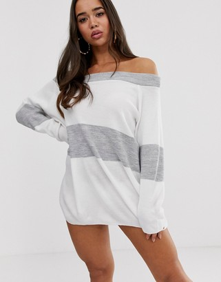 Bardot In The Style Striped Jumper Dress-Grey