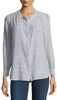 AG Adriano Goldschmied Simone Button-Front Striped Shirt, Blue