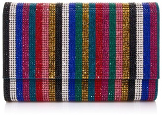 Judith Leiber Couture Fizzoni Iridescent Stripe Crystal Clutch