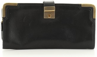 Bottega Veneta Folding Double Zip Clutch Leather with Metal Detail