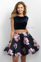 Blush Lingerie Two-Piece Floral Jewel Neck Velvet A-Line Dress 11179