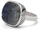 Stephen Dweck Women's 925 Sterling Silver Etched Flower in Crystal Quartz Labradorite and Hematite Ring - Size L