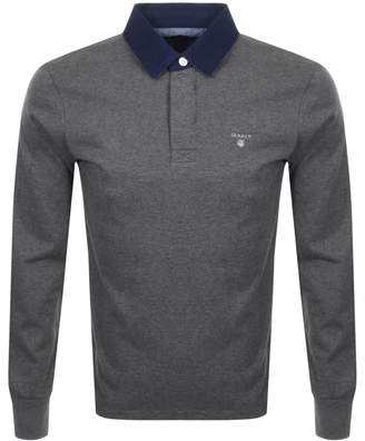 Gant Heavy Rugger Long Sleeve Polo T Shirt Grey