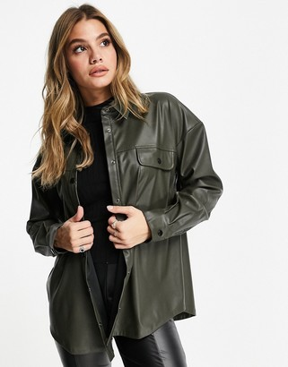 ASOS DESIGN shacket in leather look in khaki
