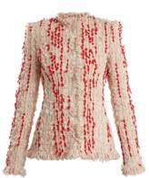 Alexander McQueen Frayed-hem tweed blazer